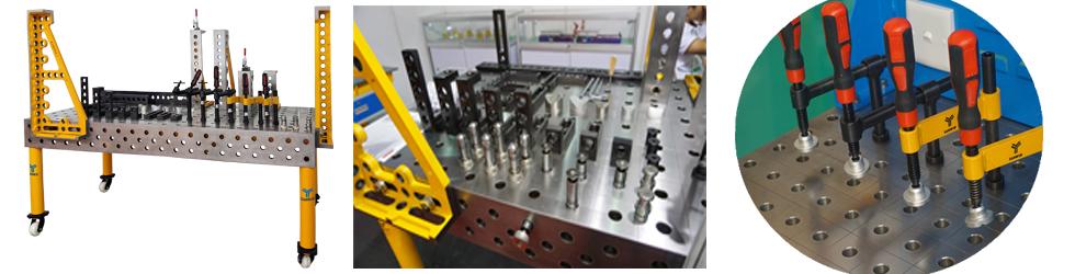 在焊装生产过程中,选用性能优越的焊接工装夹具对提高焊接产品的精度和质量、缩短加工时间起着非常重要的作用。随着汽车生产向小批量、多样化方向发展,在新车型的开发和制造过程中,利用柔性化、模块化的三维组合工装替代传统的专用工装,不仅可以缩短设计、制造时间,而且可以反复使用,节约成本。尤其在专用车辆、工程车辆和大型客车等小批量汽车的生产中,使用柔性化工装进行焊接生产,则是非常经济而实用的方法。